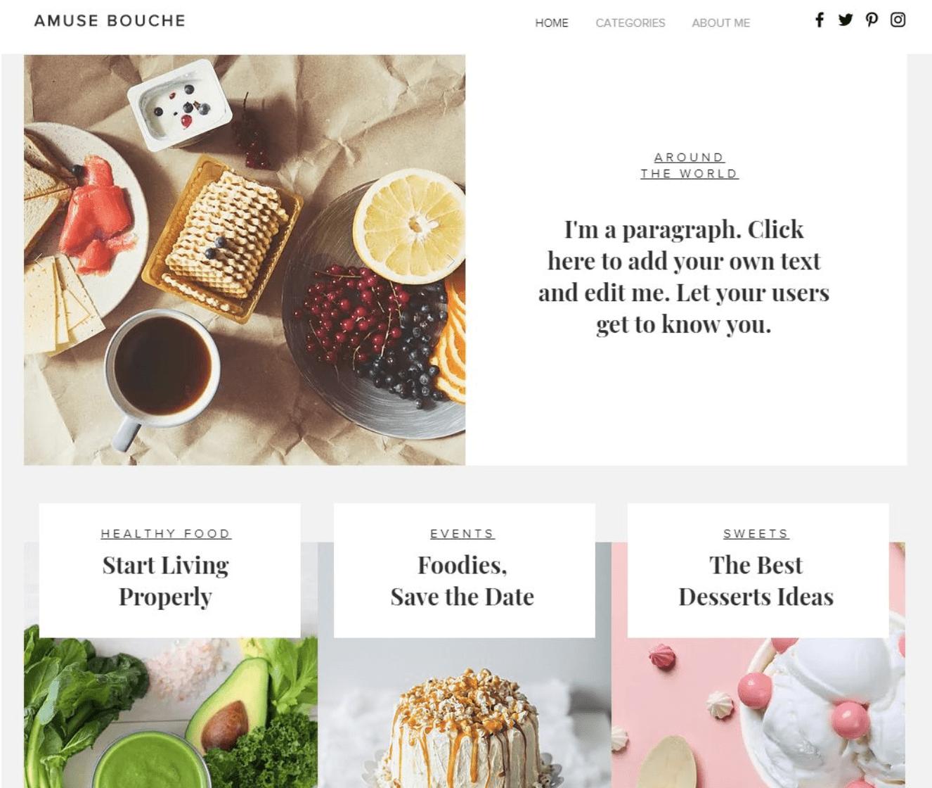 Food-Blog Beispieltemplate Nr 1 Wix