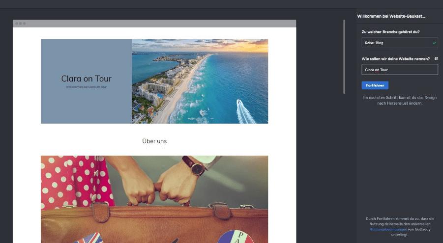 Blog erstellen mit GoDaddy Schritt 2 - Thema