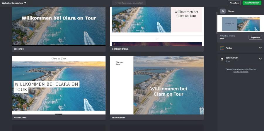 Blog erstellen mit GoDaddy Schritt 3 - Design
