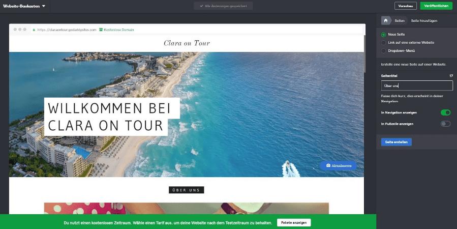 Blog erstellen mit GoDaddy Schritt 4 - Navigation