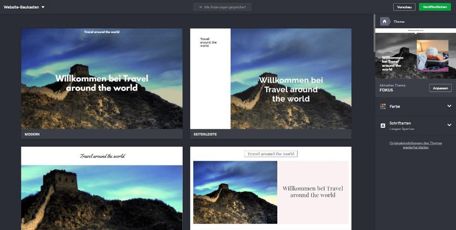 Reiseblog erstellen mit GoDaddy Schritt 3: Design auswählen