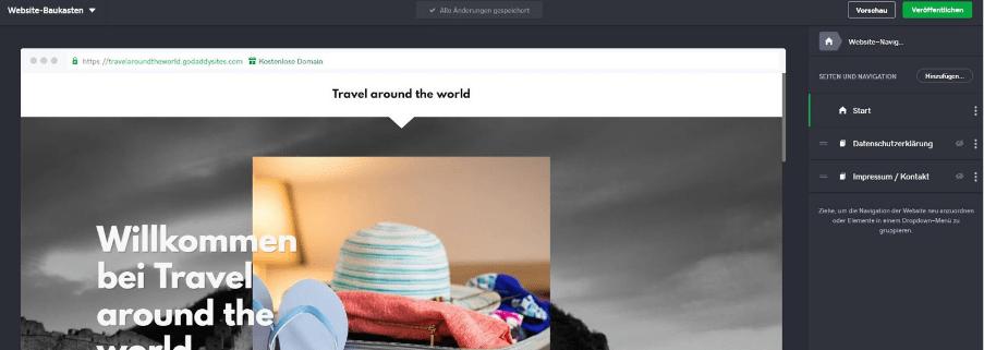 Reiseblog erstellen mit GoDaddy Schritt 4: Navigation anpassen