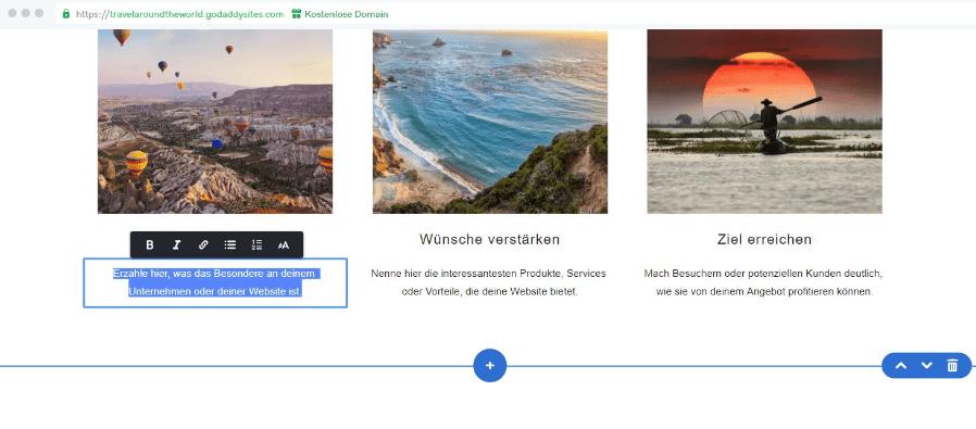 Reiseblog erstellen mit GoDaddy Schritt 5: Bilder und Texte