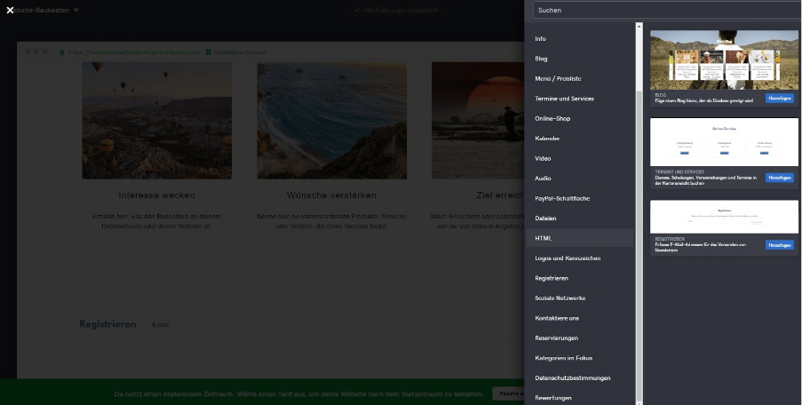 Reiseblog erstellen mit GoDaddy Schritt 6: Funktionen ergänzen