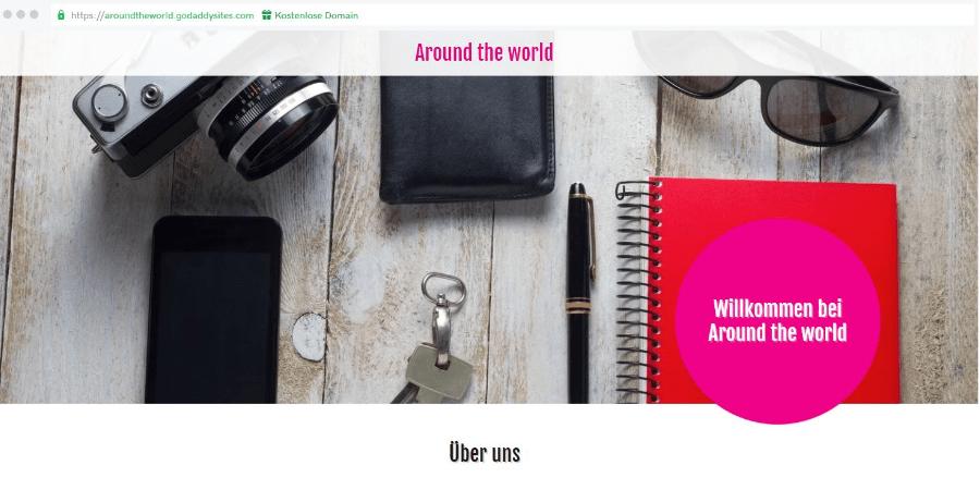 Reiseblog erstellen GoDaddy Beispieltemplate 3