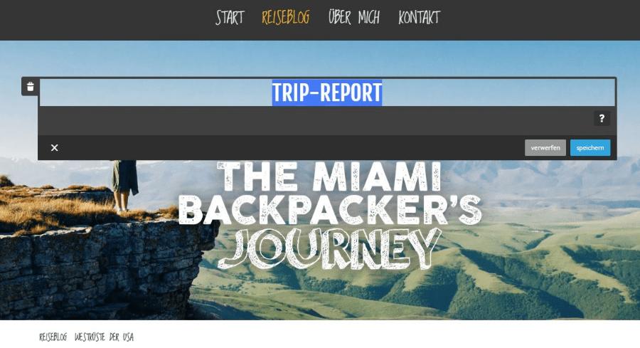 Reiseblog erstellen mit Jimdo Schritt 8: Inhalte ergänzen
