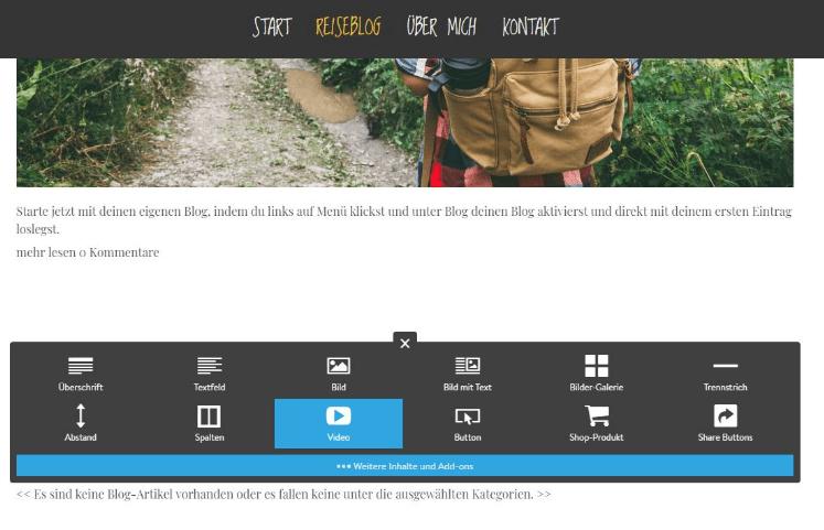 Reiseblog erstellen mit Jimdo Schritt 8: Videos einfügen