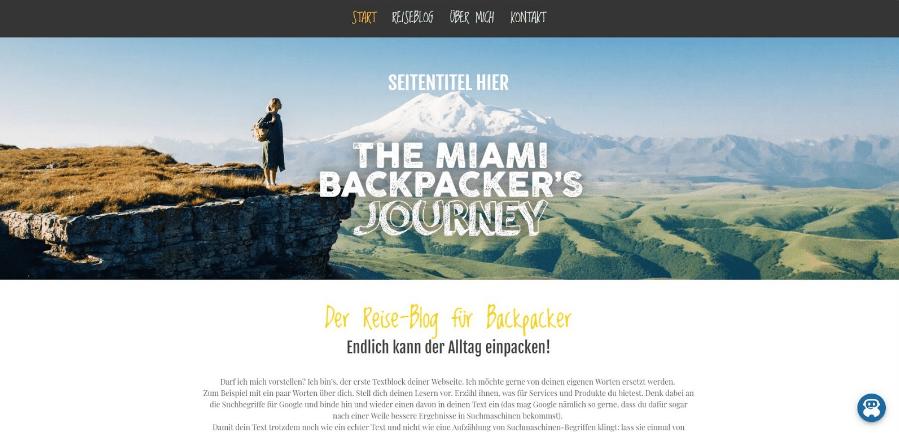 Reiseblog erstellen Jimdo Beispieltemplate 1