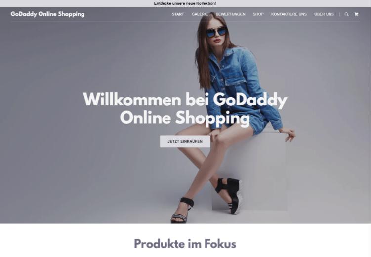 Website mit Online-Shop erstellen GoDaddy Beispieltemplate 1