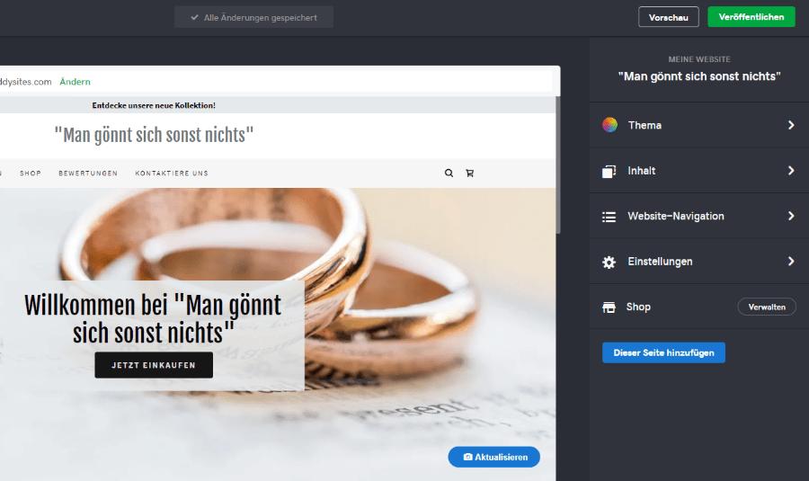 Website mit Online-Shop erstellen GoDaddy Schritt 3: Design festlegen