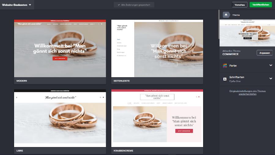 Website mit Online-Shop erstellen GoDaddy Schritt 3: Design
