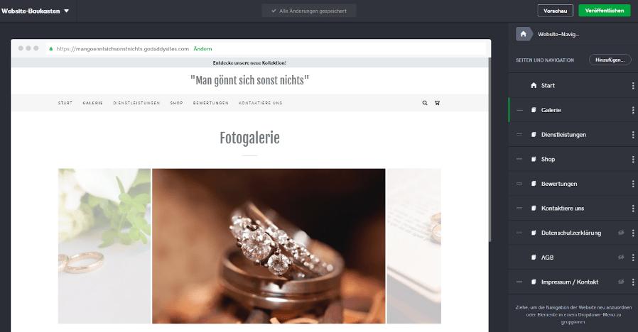 Website mit Online-Shop erstellen GoDaddy Schritt 4: Navigation anpassen