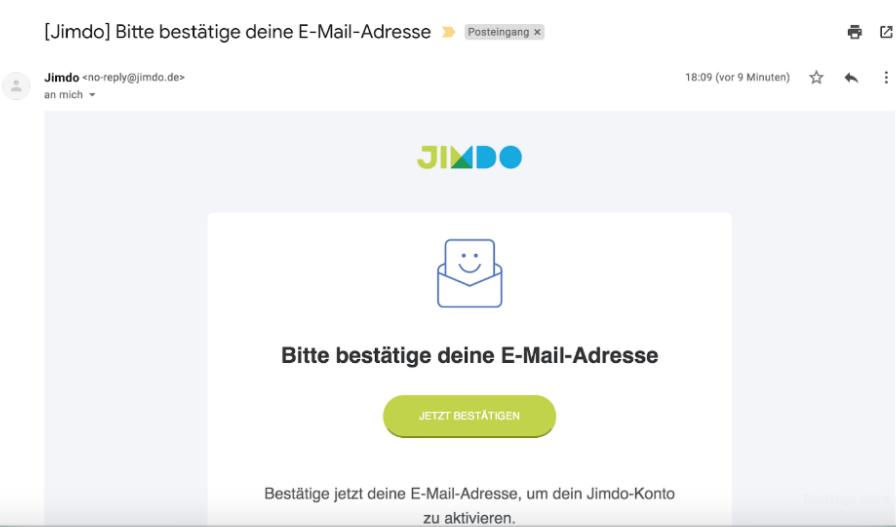 Website mit Online-Shop erstellen Jimdo Schritt 1: Konto aktivieren