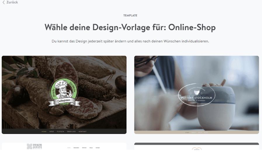 Website mit Online-Shop erstellen Jimdo Schritt 4: Design auswählen