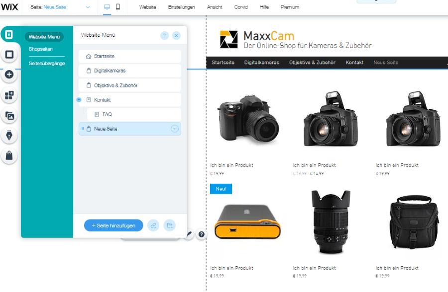 Website mit Online-Shop erstellen Wix Schritt 4: Menüstruktur