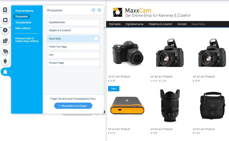 Website mit Online-Shop erstellen Wix Schritt 4: Unterseiten erstellen