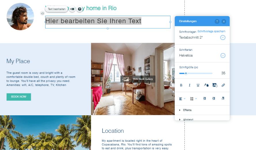 Website mit Online-Shop erstellen Wix Schritt 5: Bilder und Texte