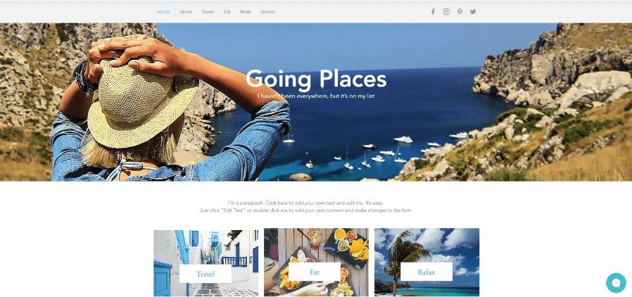 Reiseblog erstellen Wix Beispieltemplate