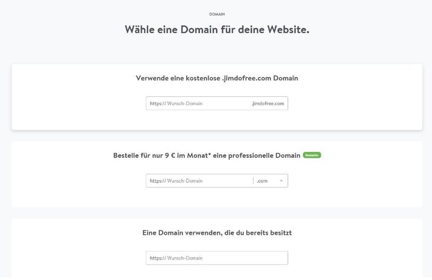 Blog erstellen mit Jimdo Schritt 6 - Domain wählen