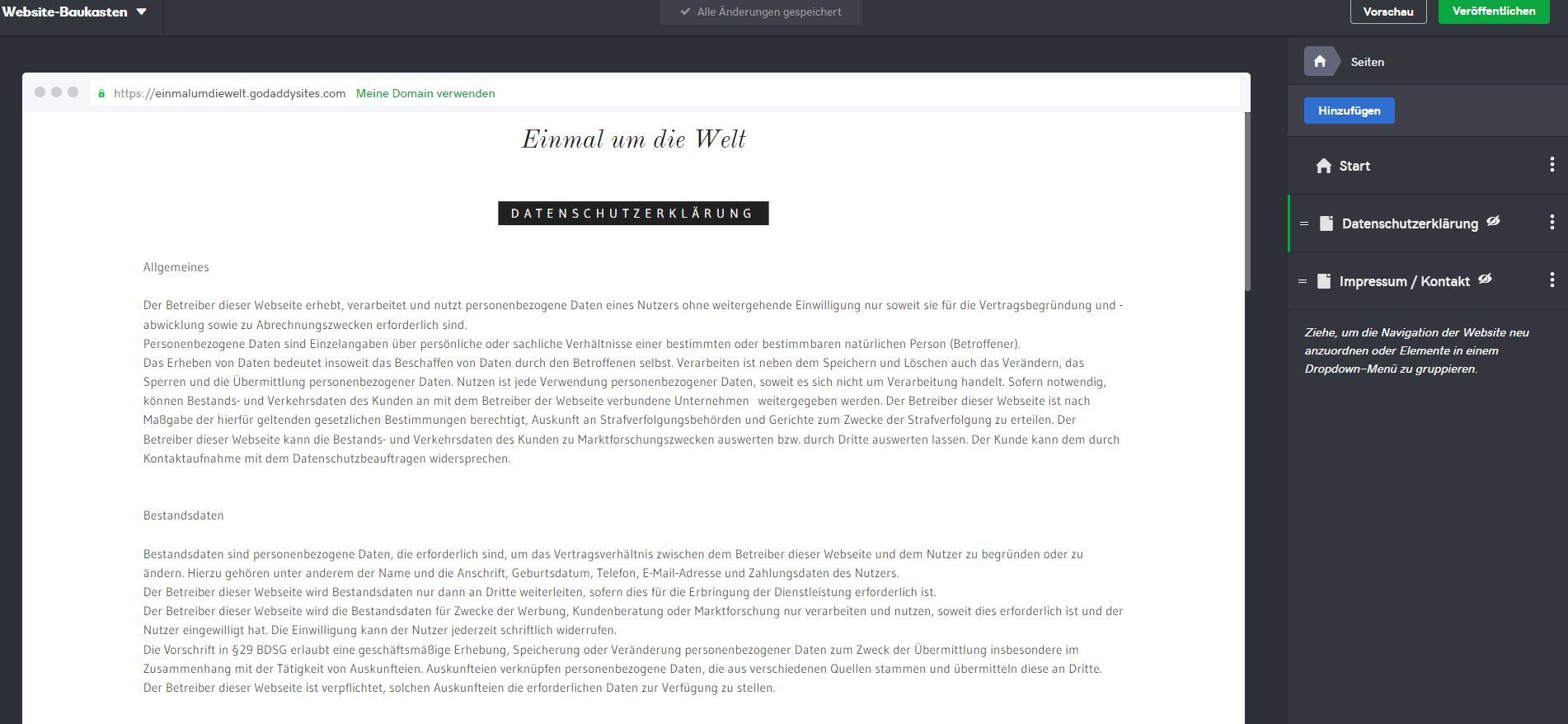Kostenlose Website erstellen mit GoDaddy - Schritt 4
