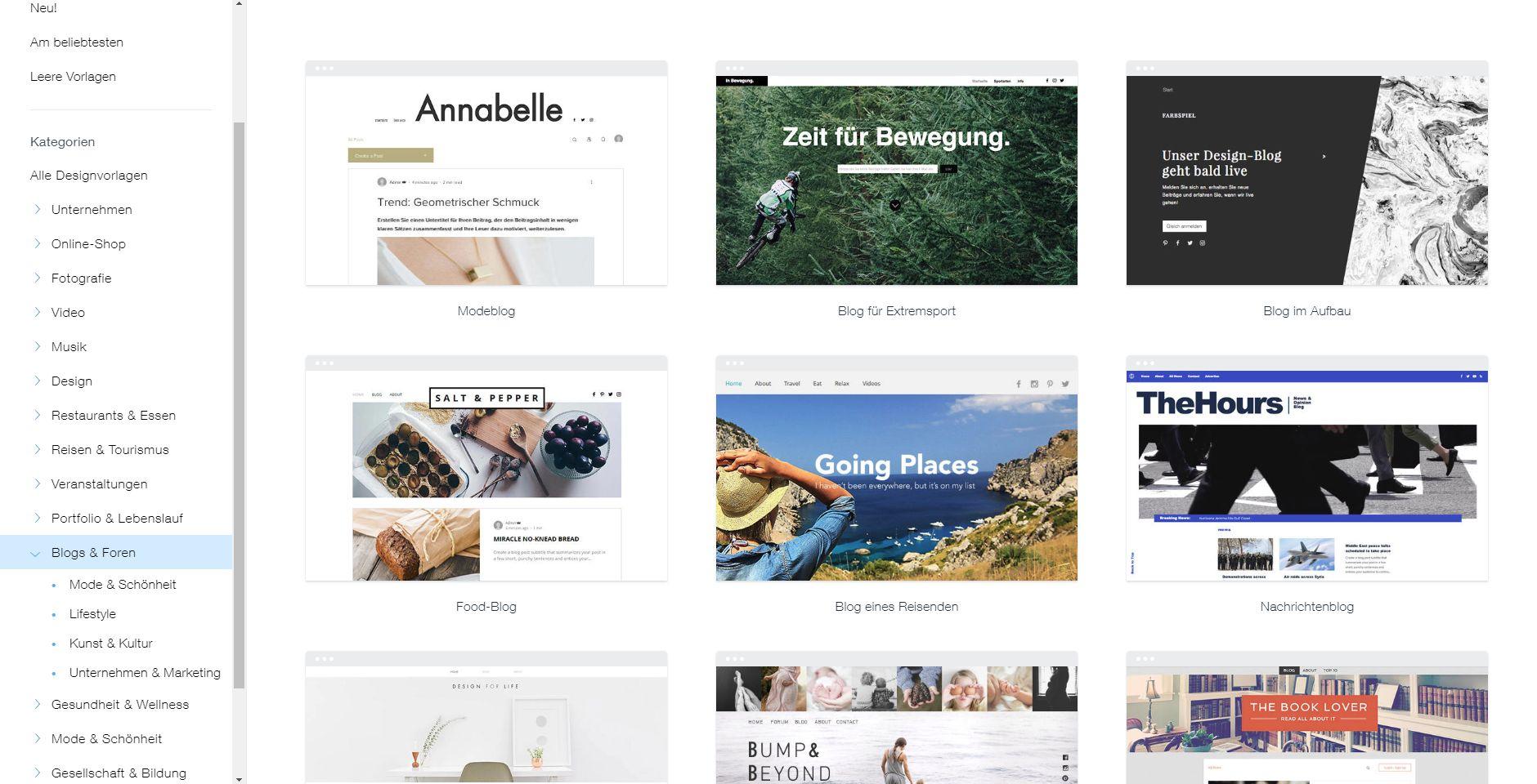 Kostenlose Website erstellen mit Wix -Schritt 3: Design wählen