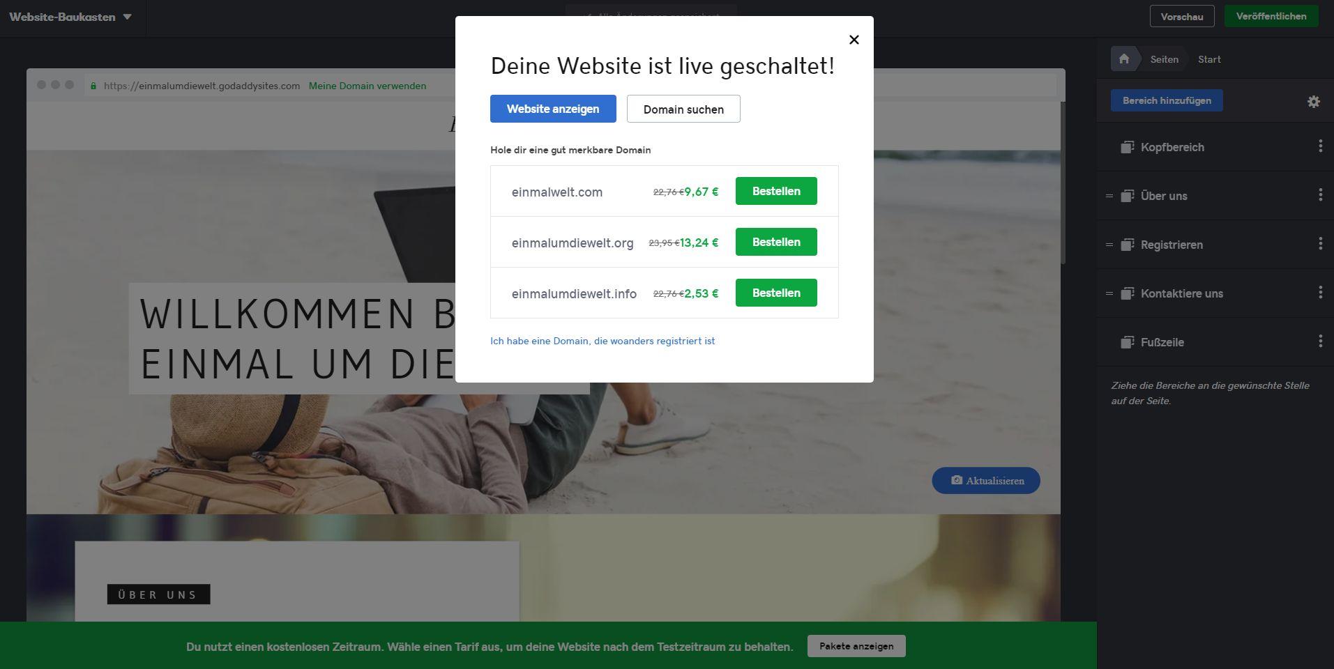 Kostenlose Website erstellen mit GoDaddy - Schritt 7: Live gehen