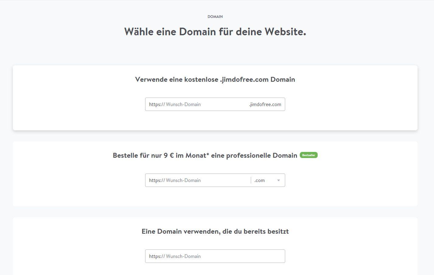 Kostenlose Website erstellen mit Jimdo - Schritt 6: Domain wählen