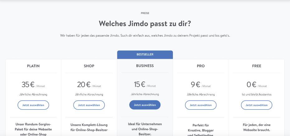 Kostenlose Website erstellen mit Jimdo Schritt 5: Tarif wählen