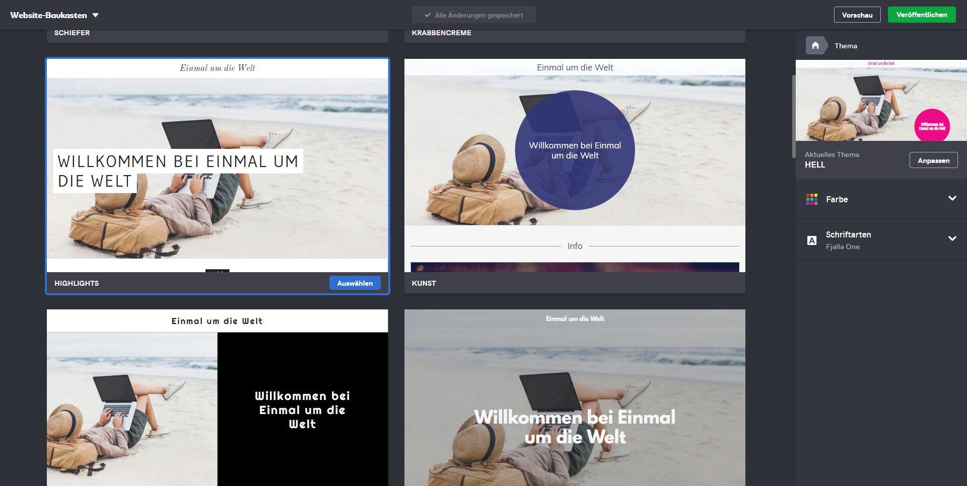 Kostenlose Website erstellen mit GoDaddy - Schritt 3: Design wählen