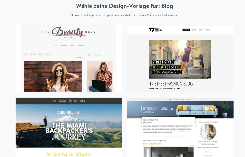 Kostenlose Website erstellen mit Jimdo - Schritt 3: Design wählen