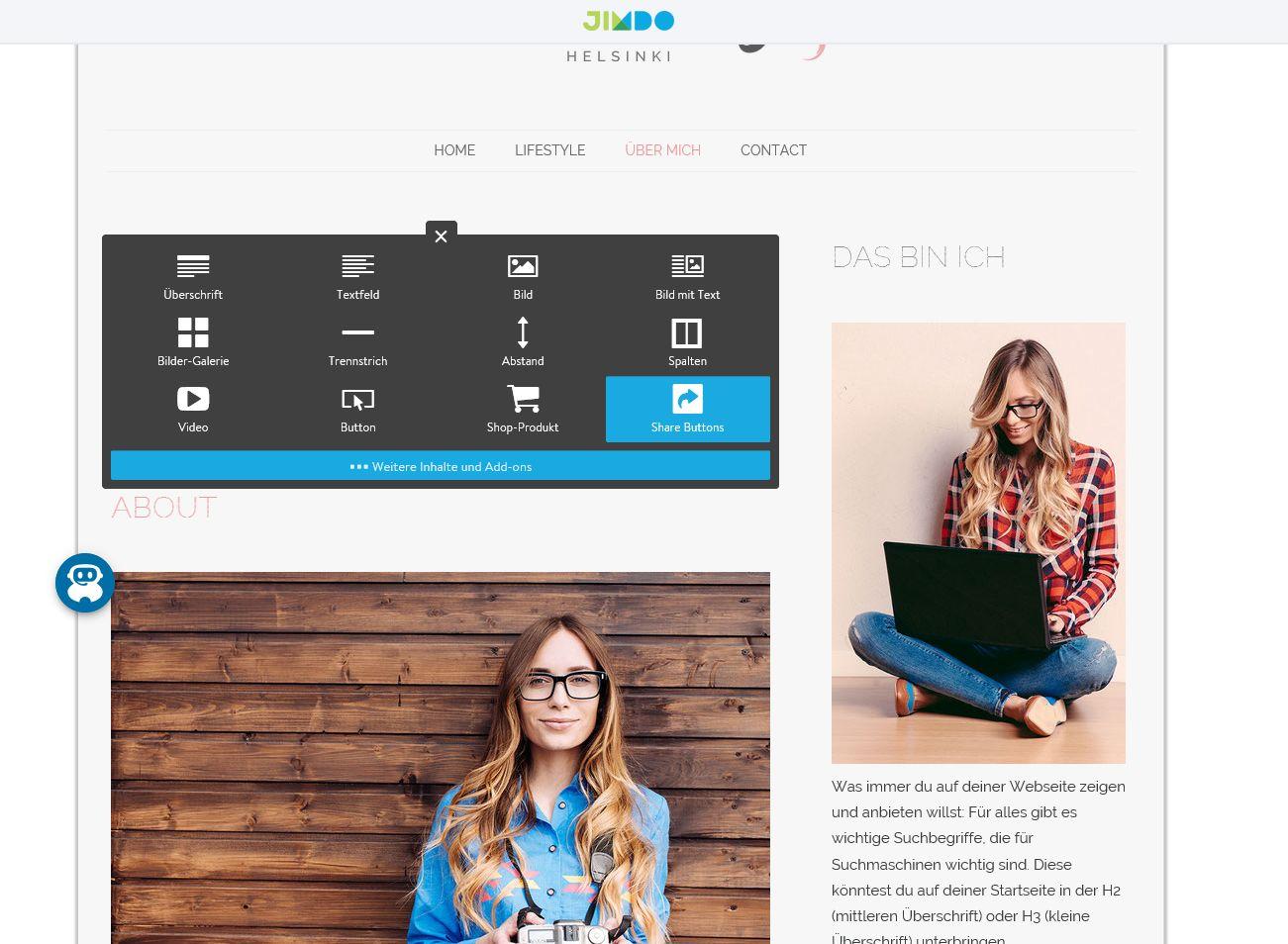 Kostenlose Website erstellen mit Jimdo - Schritt 8: Inhalte