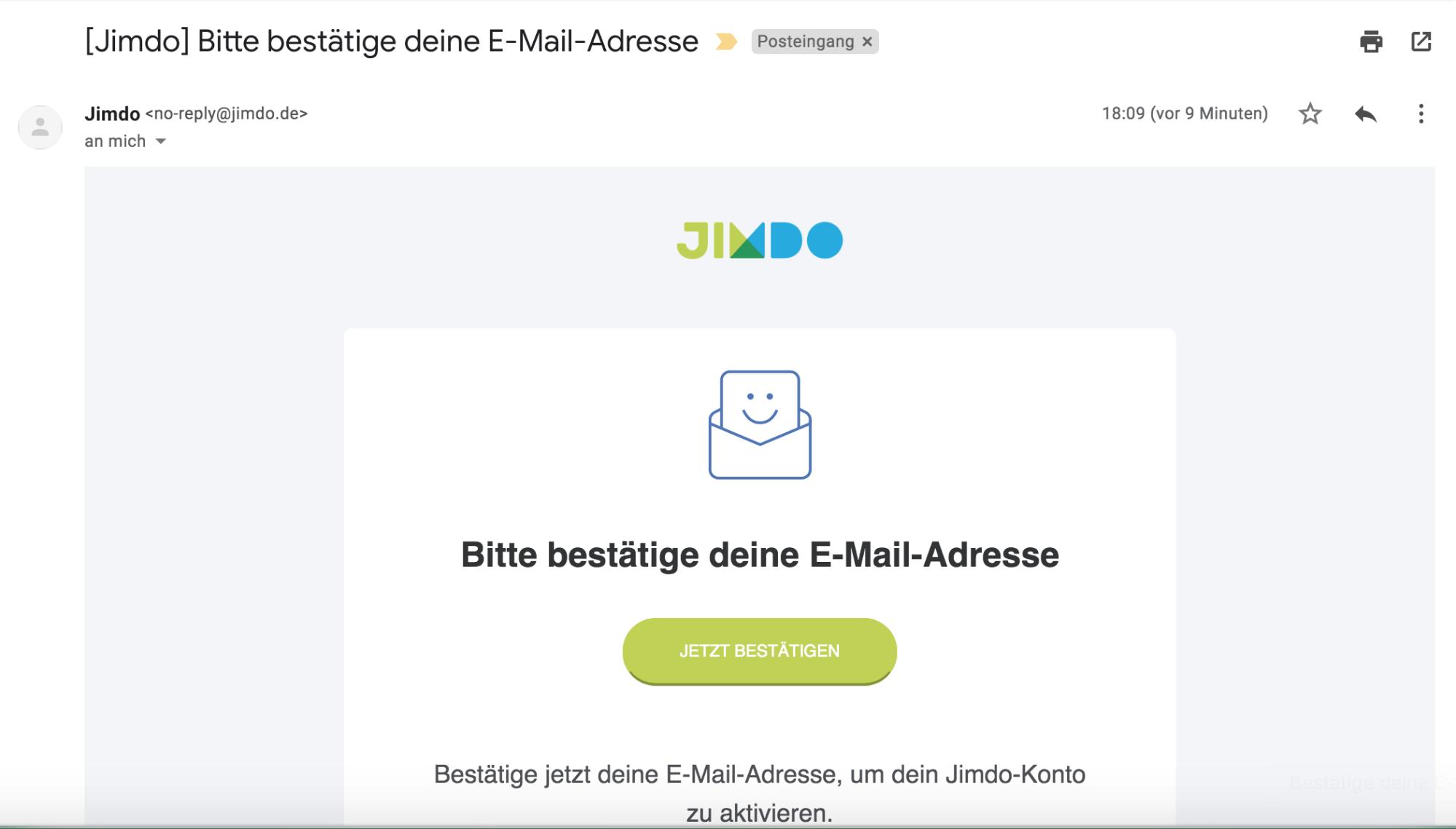 Kostenlose Website erstellen mit Jimdo - Schritt 1.2: E-Mail bestätigen