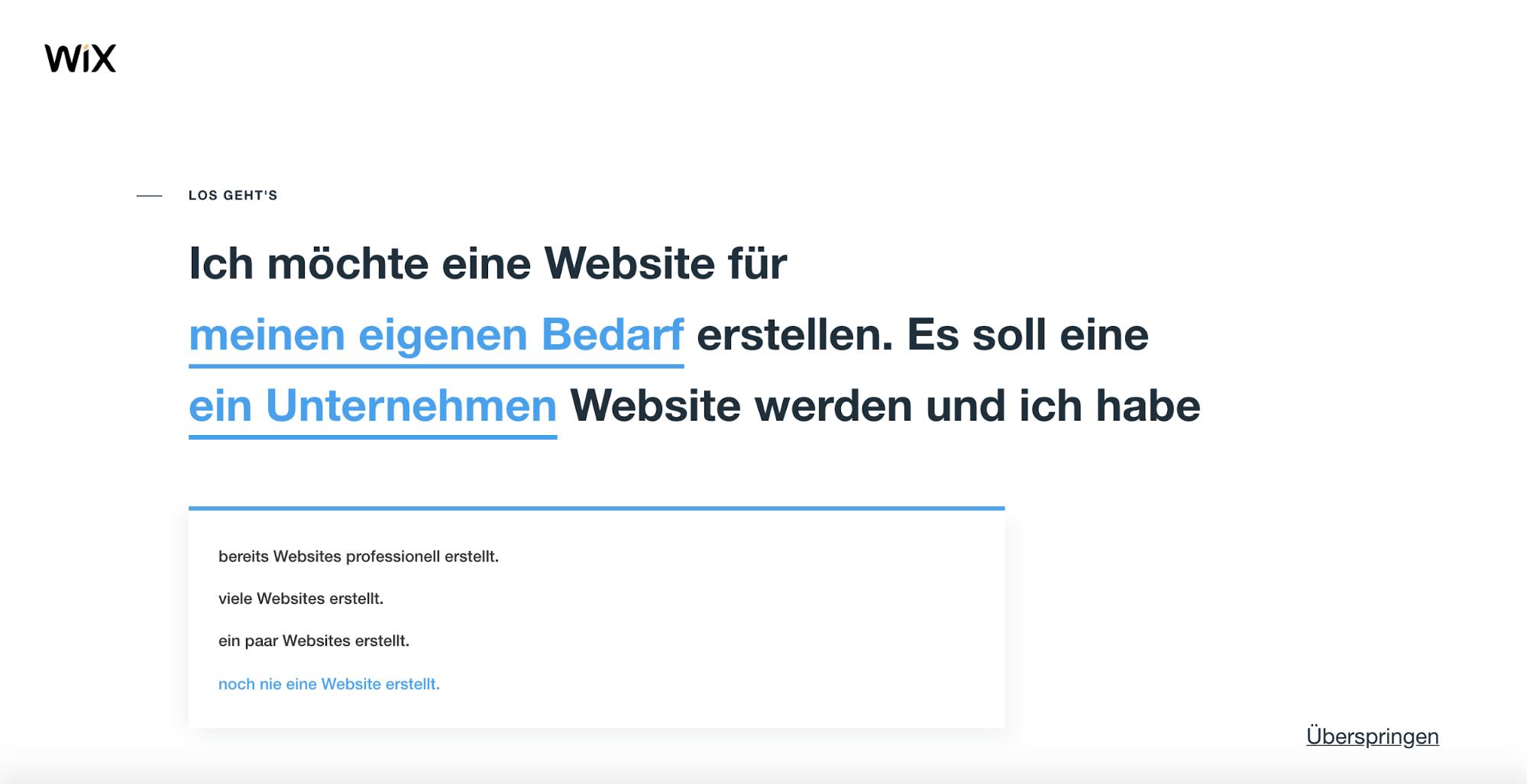 Wix im Test: Website erstellen Schritt 2