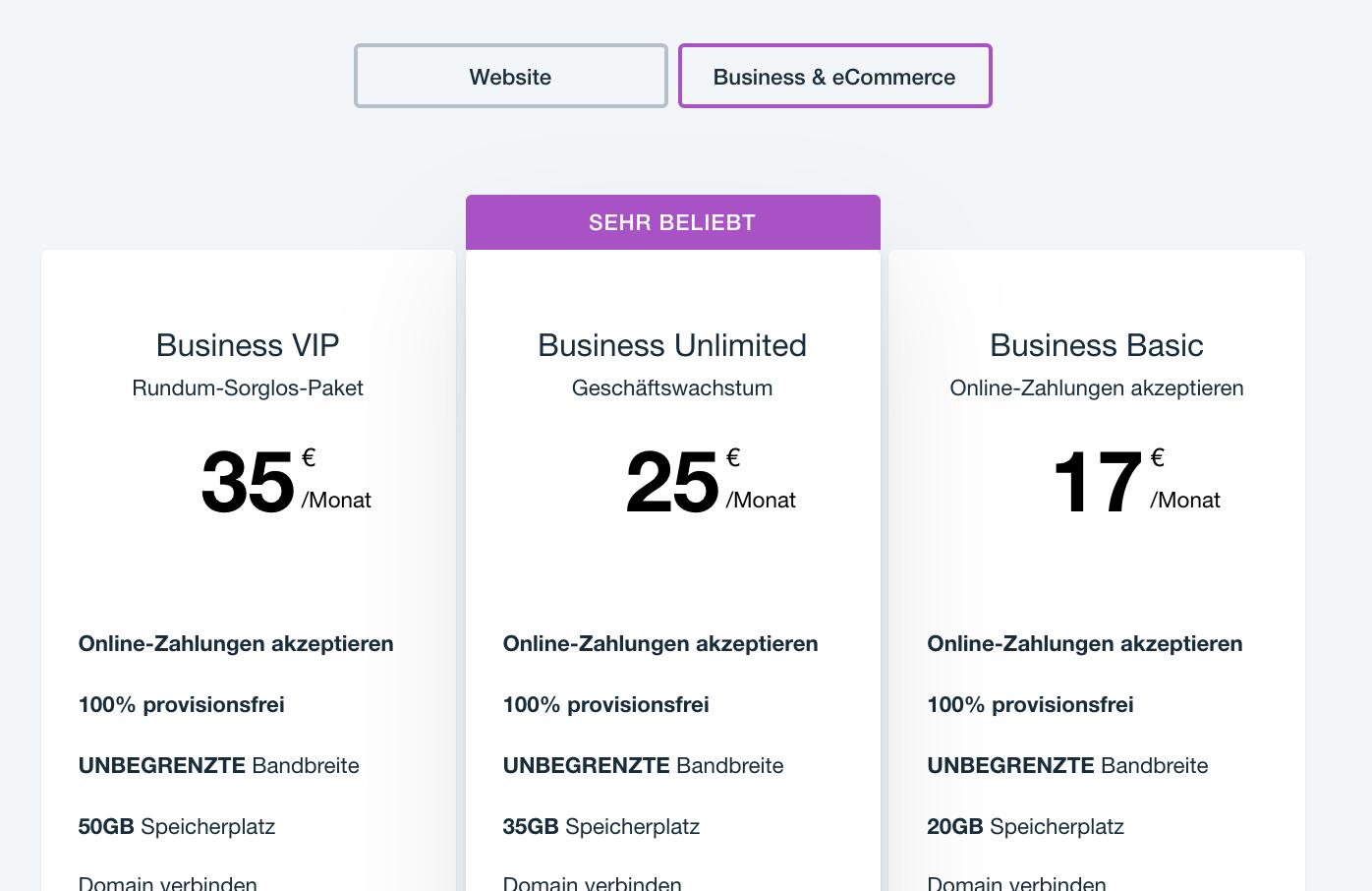 Wix im Test: Empfohlene Preismodelle