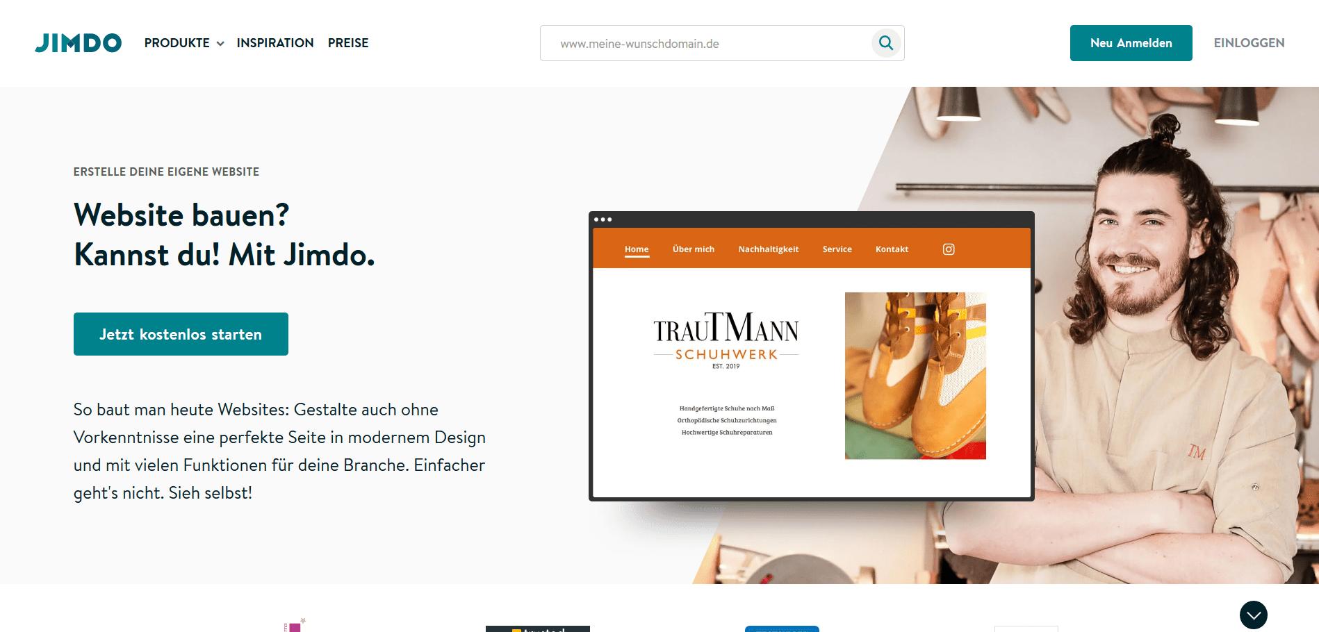 Jimdo Website Baukasten Test: Website erstellen Schritt 1