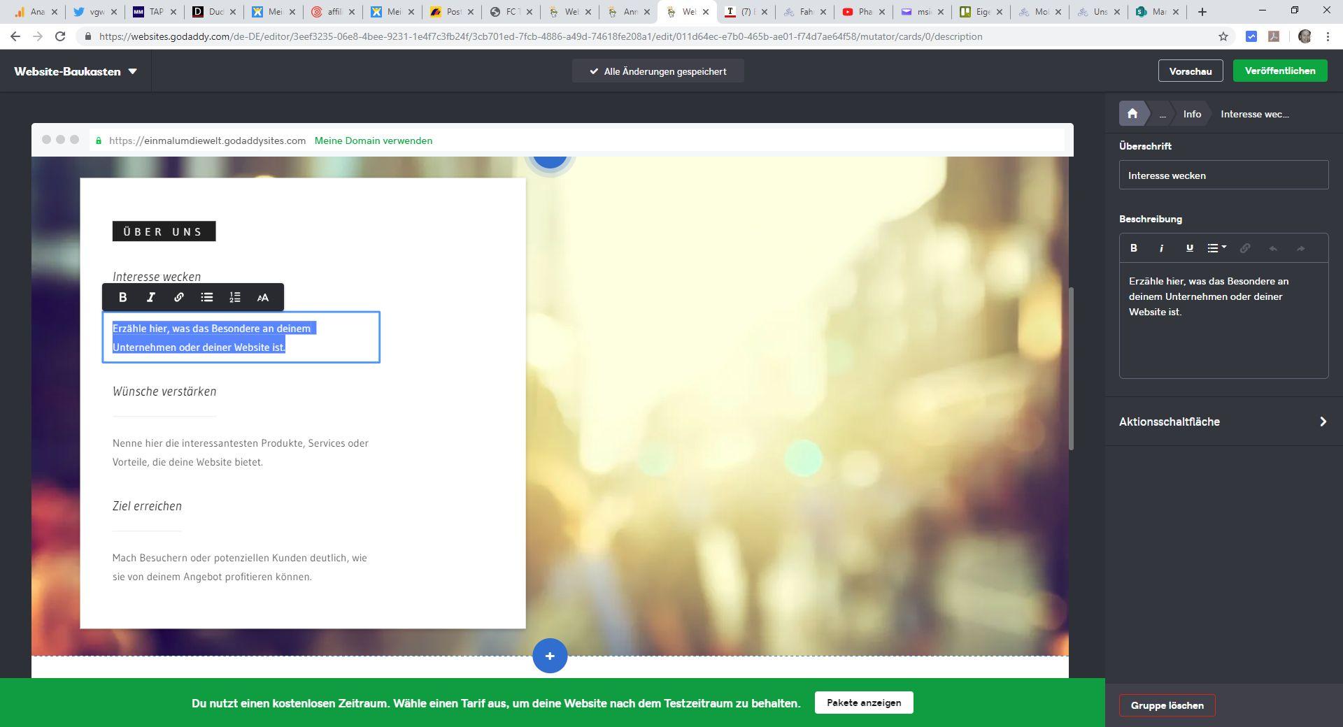 Homepage inkl. Domain erstellen mit GoDaddy Schritt 5