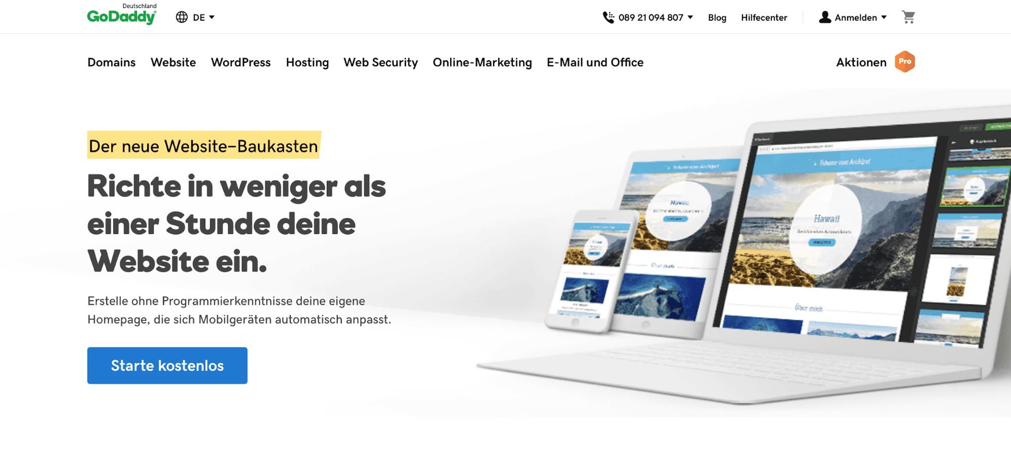 Website erstellen mit Mac (Webdesign): GoDaddy Schritt 1