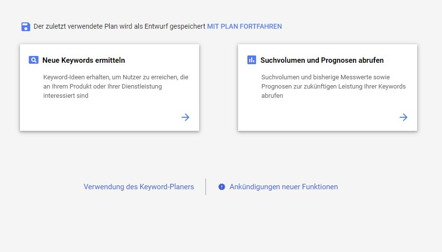 Fotoblog erstellen (2019): Der Google Keyword Planner