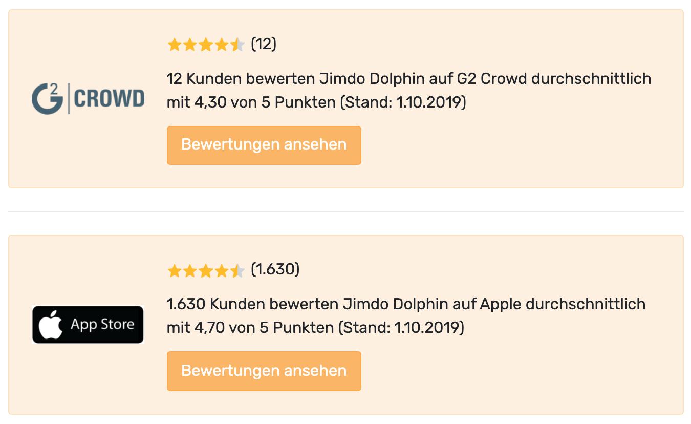 Jimdo Website Baukasten Test Portal-Bewertungen