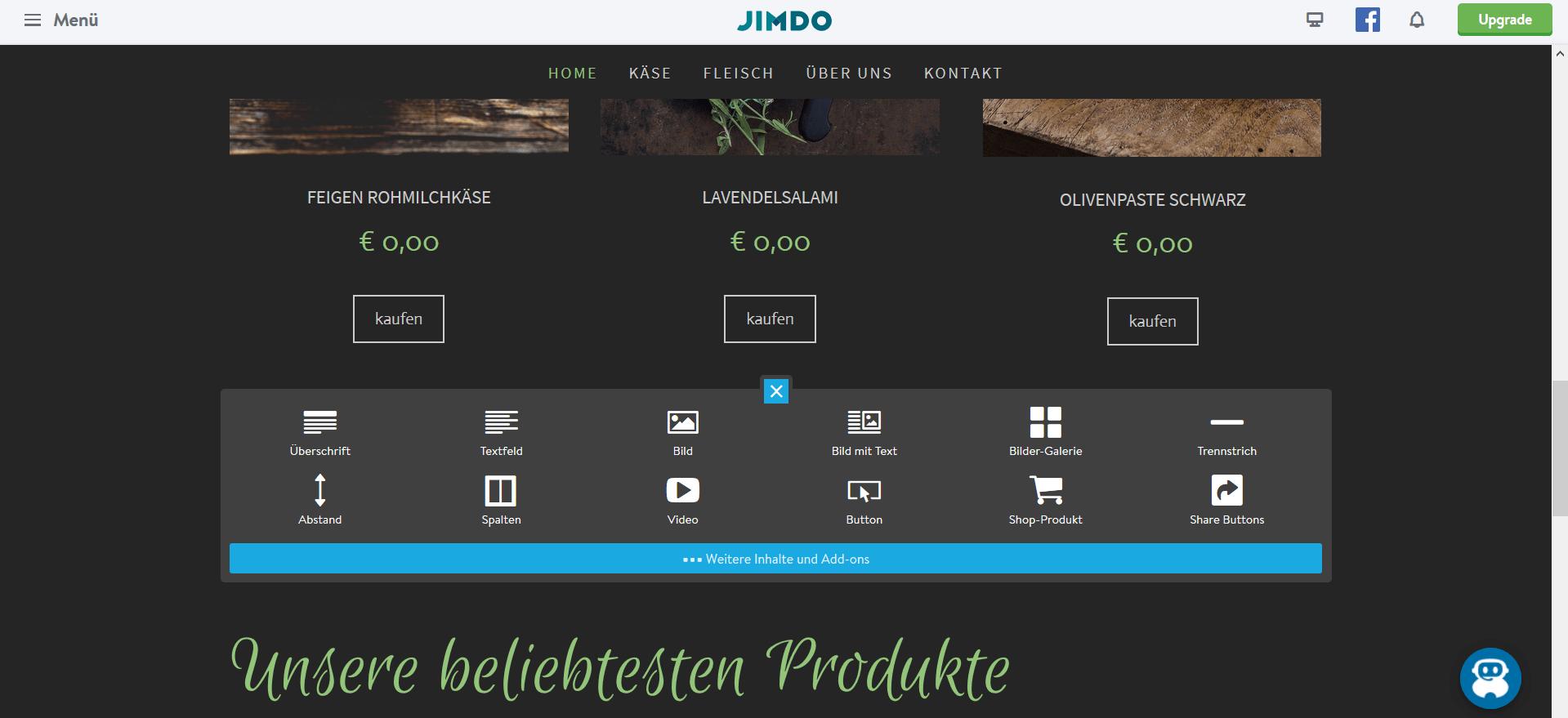 Jimdo Website Baukasten Test: Schritt 5.3