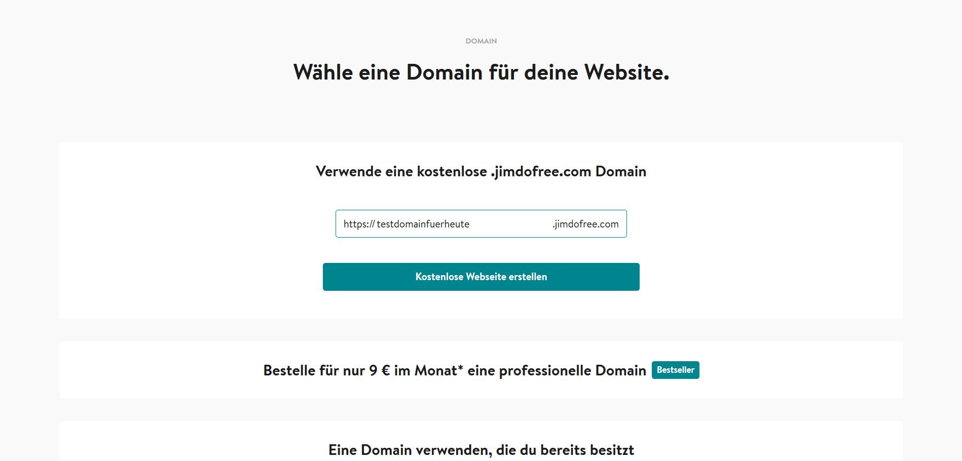 Jimdo Website Baukasten Test: Schritt 4