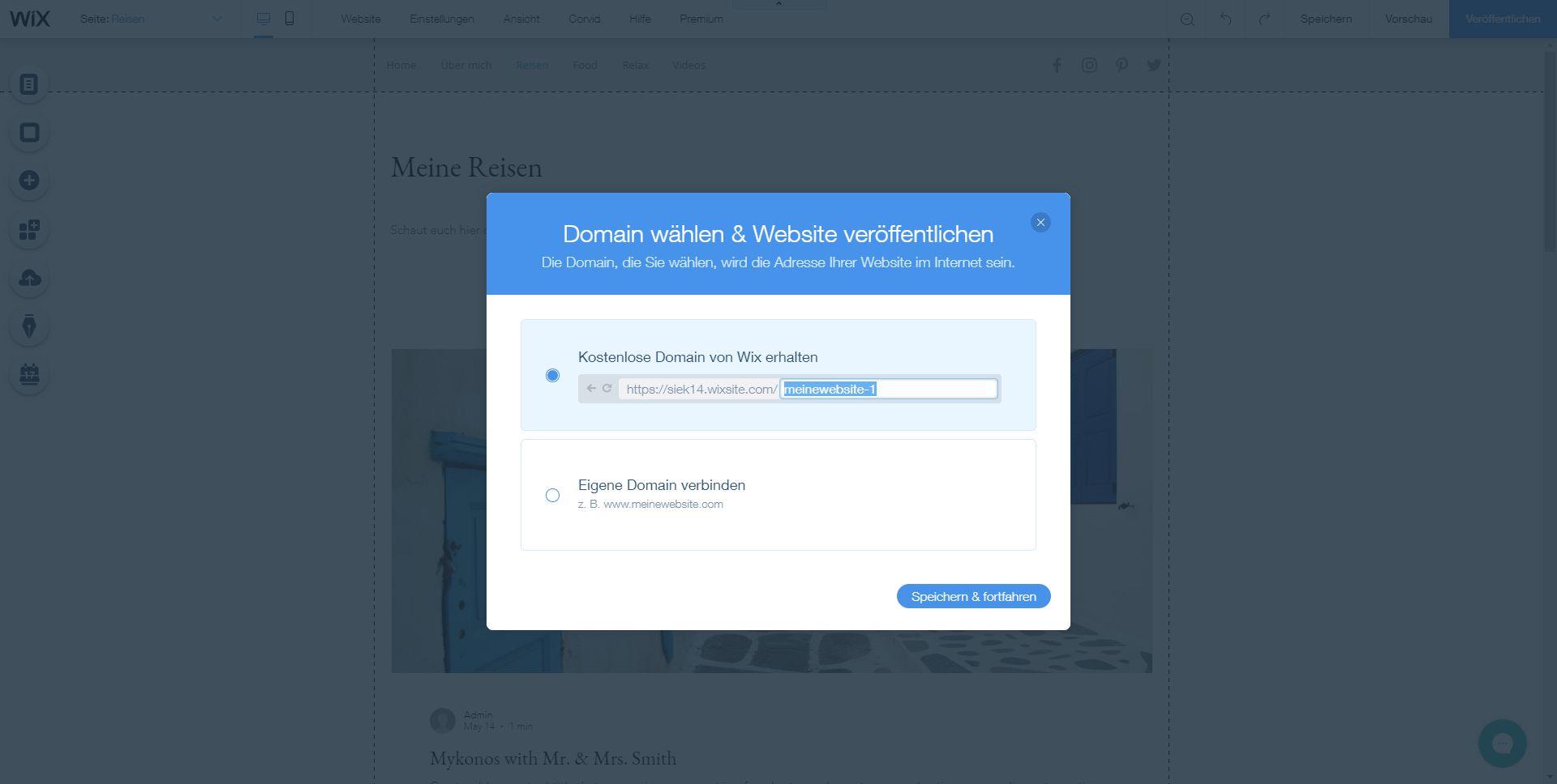 Homepage inkl. Domain erstellen mit Wix: Schritt 8