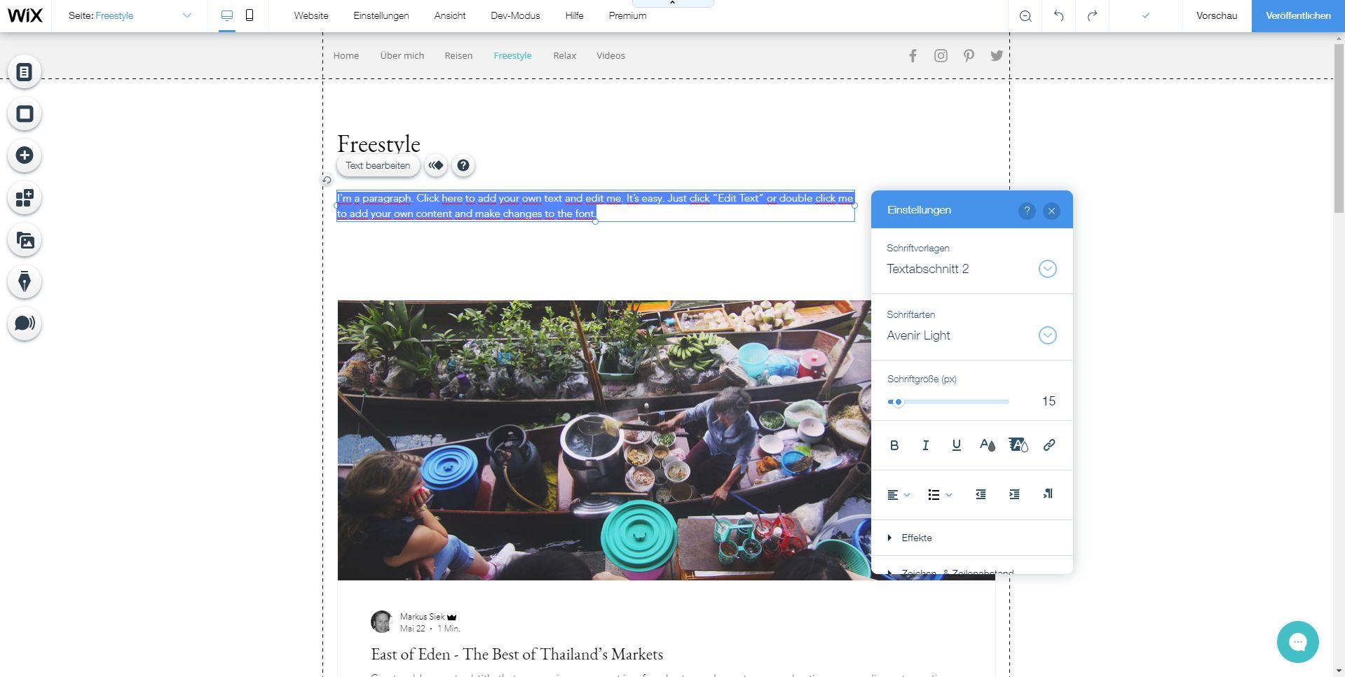 Fotoblog erstellen (2019): Wix Schritt 5