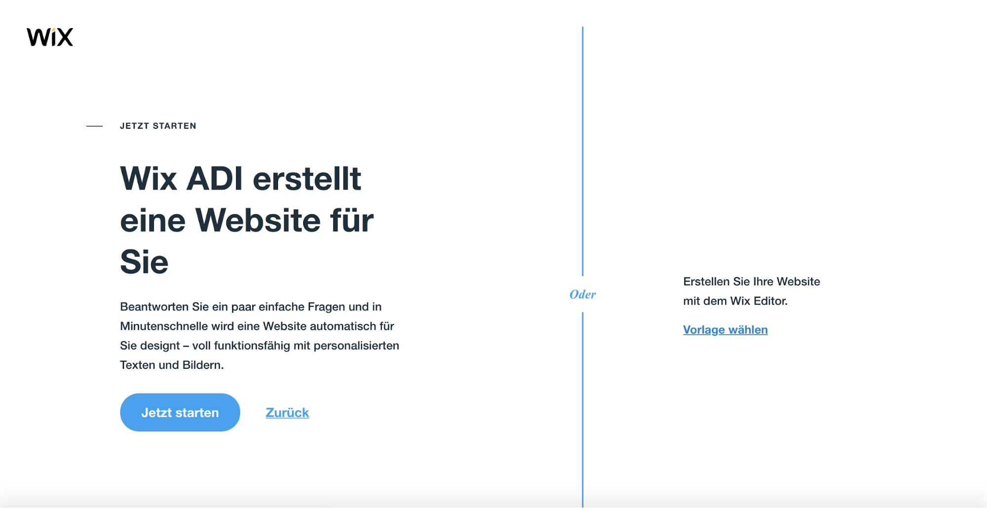 Homepage inkl. Domain erstellen mit Wix: Schritt 2.2