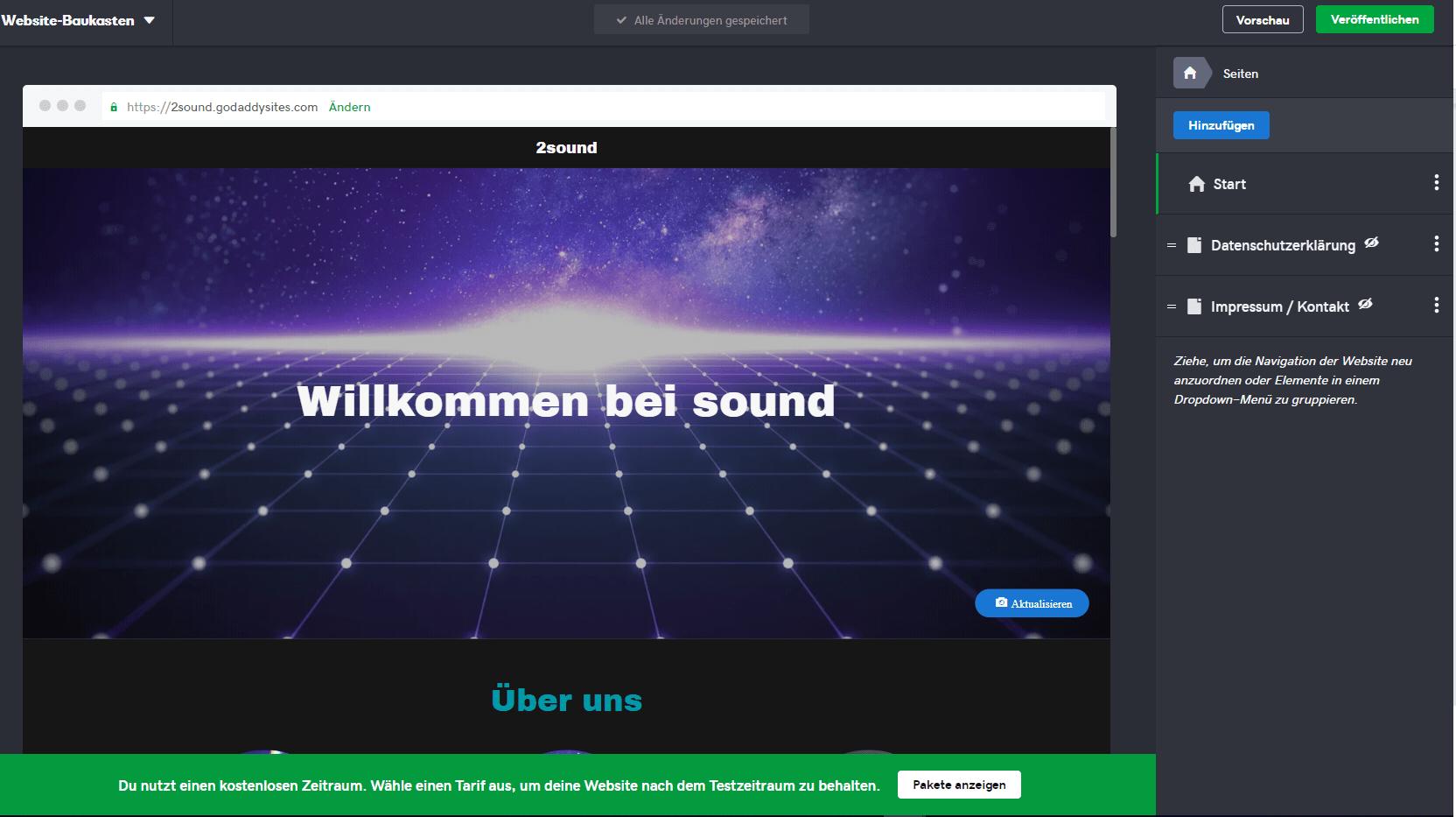 Homepage inkl. Domain erstellen mit GoDaddy Schritt 4