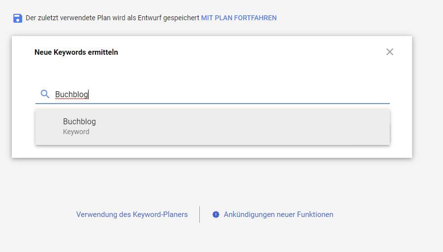 Homepage inkl. Domain erstellen: Neue Keywords ermitteln