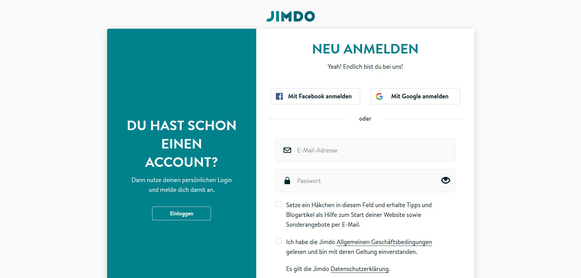 Jimdo Website Baukasten Test: Website erstellen Schritt 1.2