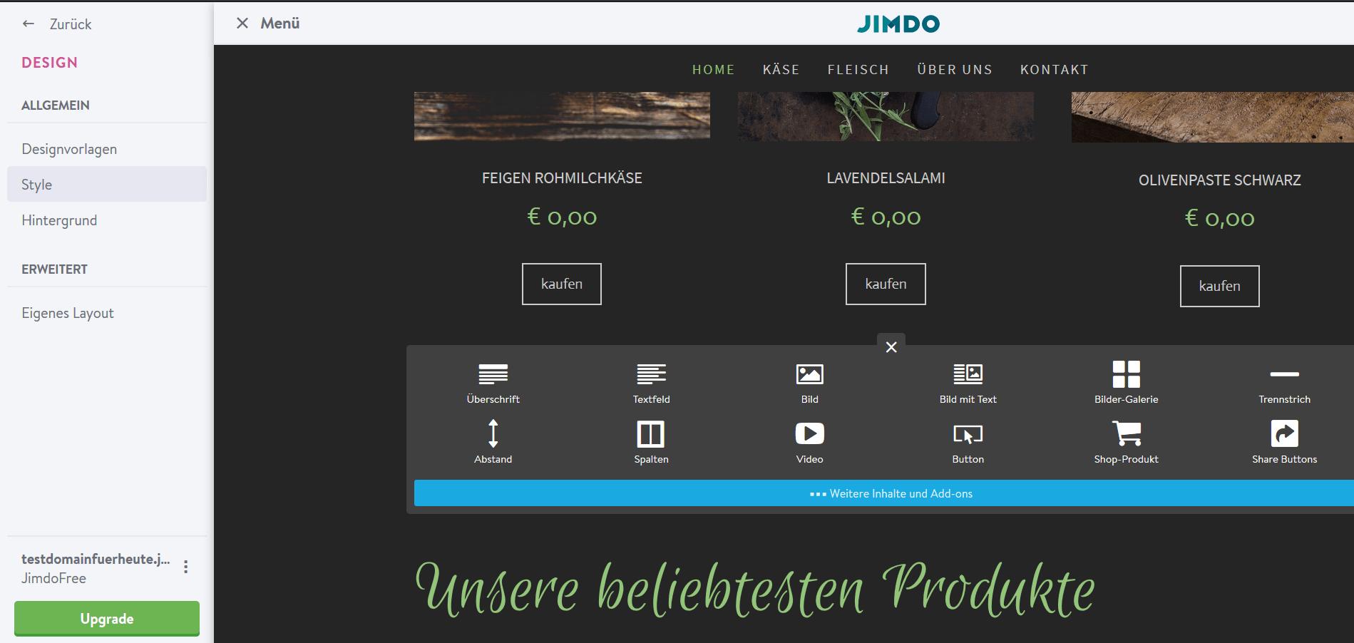Jimdo Website Baukasten Test: Schritt 6.2