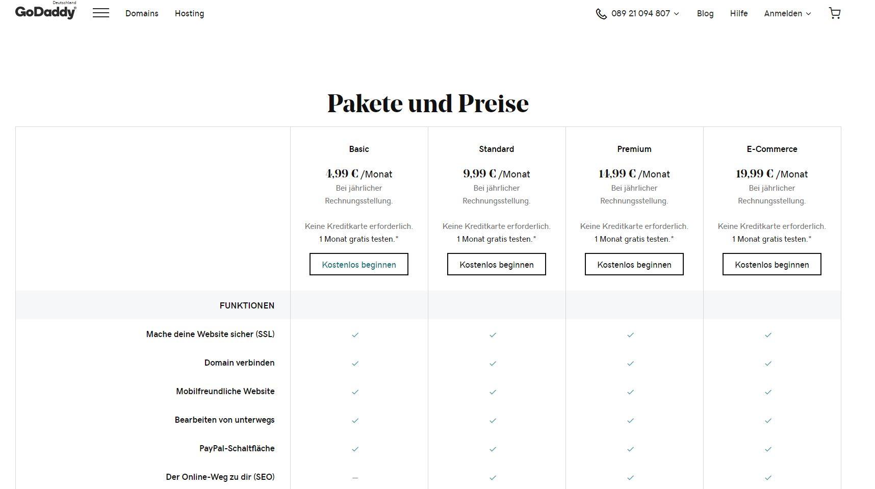 """""""GoDaddy"""" Website Builder (Test): Pakete und Preise"""