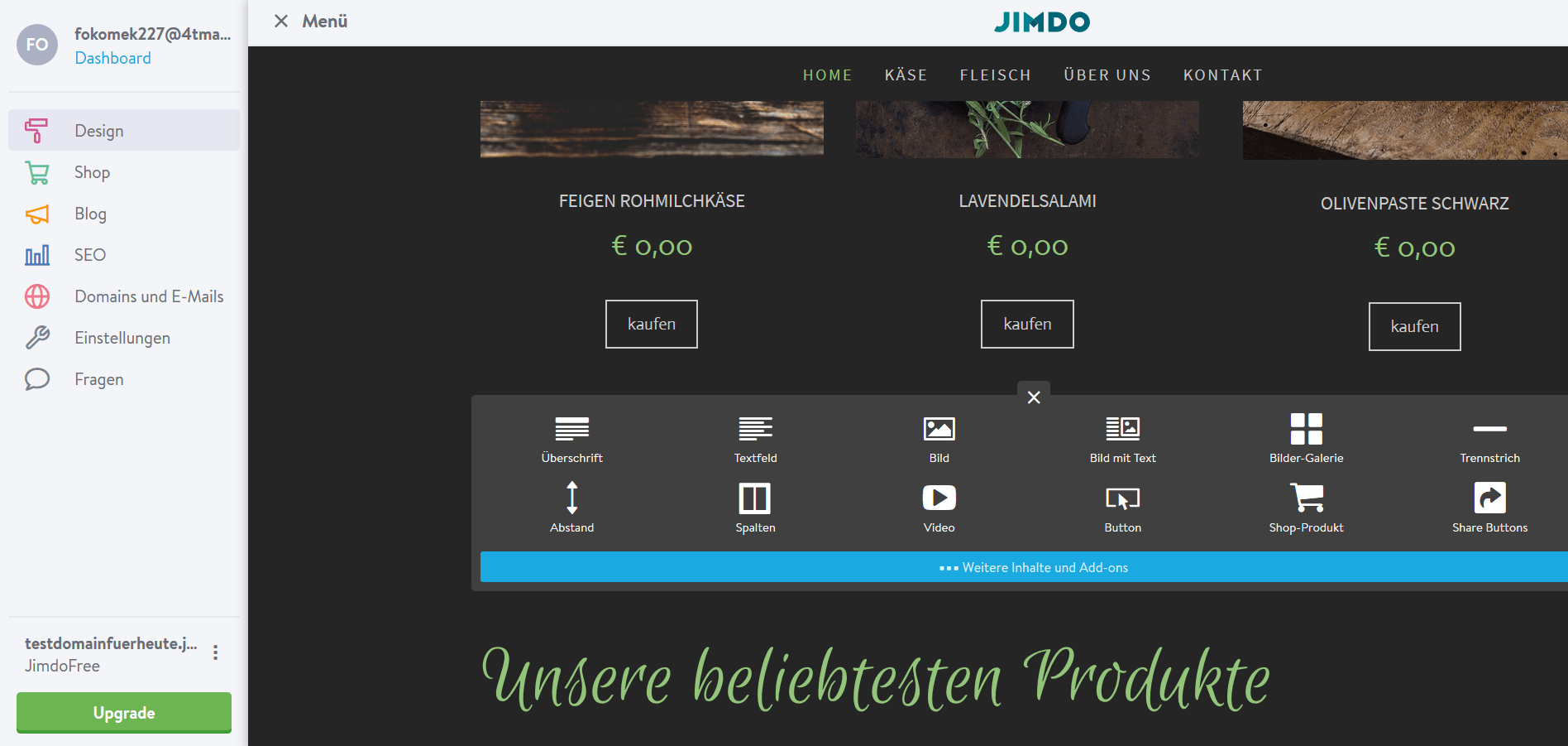 Jimdo Website Baukasten Test: Schritt 6.1